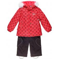 16320 A - Robin - 1860 Красно-розовое плетение с коричневым полукомбезом